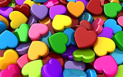 colorful 3D hearts, 4k, 3D textures, colorful hearts background, 3D art, colorful hearts