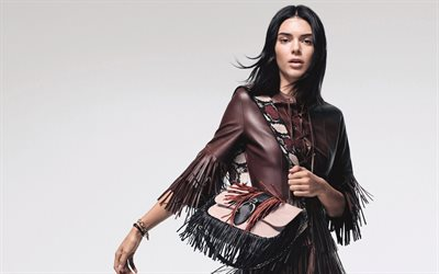 Kendall Jenner, American fashion model, portrait, photoshoot, brown leather jacket, Longchamp