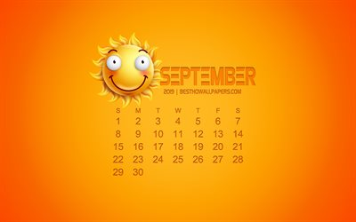 2019 September Calendar, creative art, yellow background, 3D sun emotion icon, calendar for September 2019, concepts, 2019 calendars, September