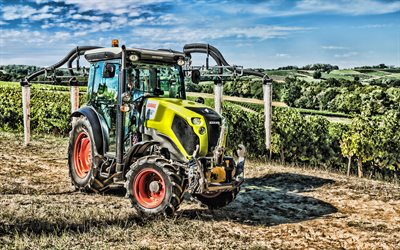 Claas Nexos 250 VL, 4k, HDR, 2019 tractors, grape harvesting, agricultural machinery, tractor in the vineyard, agriculture, Claas