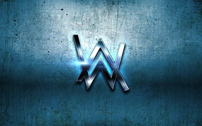 Alan Walker sininen logo, supertähtiä, DJ-Alan Walker, Dj, sininen metalli tausta, Alan Walker, luova, Alan Walker-logo