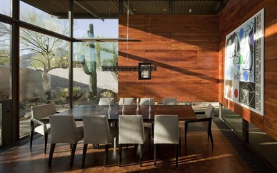 stylish interior of the meeting room, wood panels on the wall, wood in the interior, modern interior design, large table