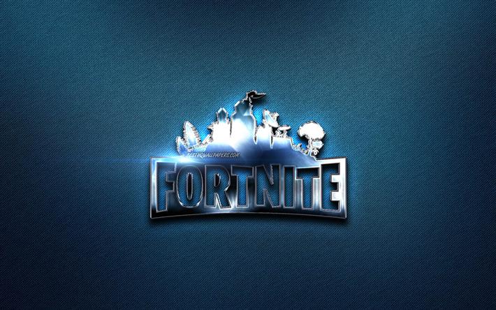 Download wallpapers Fortnite metal logo, 2019 games, blue