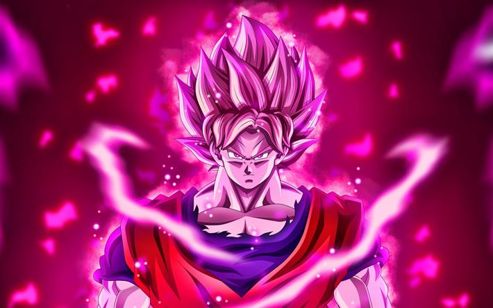 Download Wallpapers Black Goku, 4k, Purple Fire Flames