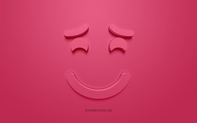 Smiling emoticon with raised eyebrows, 3d smiley, shy concepts, 3d icons, Smilling face 3d icon, pink background, creative 3d art, Emoji emoticons