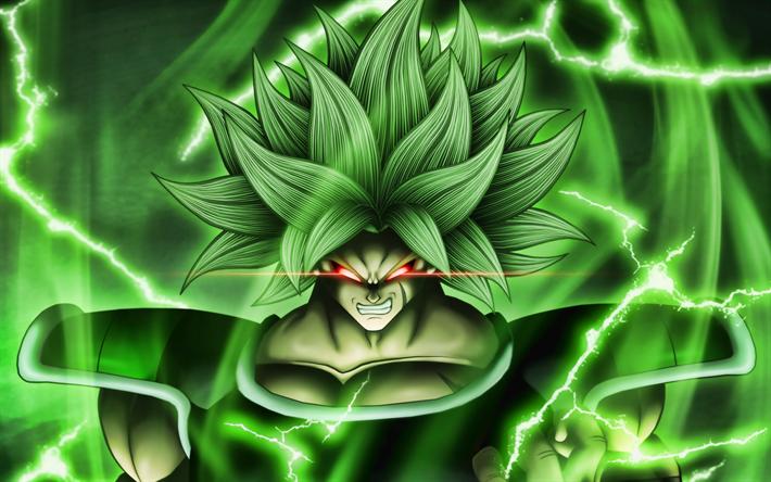 Download Wallpapers 4k Broly Green Lightings Dragon Ball