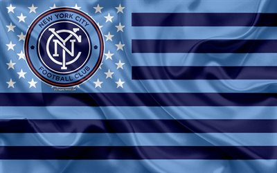 new york city fc in der amerikanischen fußball-club, amerikanische flagge, blau, flagge, mls, new york, usa, logo, emblem, major league soccer, seide, fußball