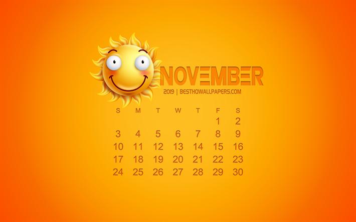 Download Wallpapers 2019 November Calendar Creative Art
