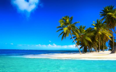Paradise island, ocean, luxury beach, palm trees, tropical island, seascape, azure lagoon