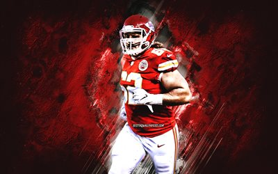 Austin Reiter, Chiefs de Kansas City, NFL, football américain, portrait, fond de pierre rouge, Ligue nationale de football