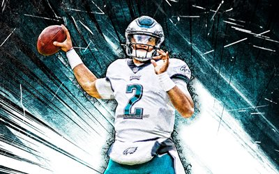 4km Jalen Hurts, grunge art, Philadelphia Eagles, football américain, NFL, Jalen Alexander Hurts, blue abstract rays, Jalen Hurts Philadelphia Eagles, quarterback, Jalen Hurts 4K