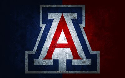 Arizona Wildcats, équipe de football américain, fond bleu rouge, logo Arizona Wildcats, art grunge, NCAA, football américain, USA, emblème Arizona Wildcats