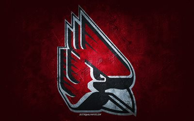Ball State Cardinals, équipe de football américain, fond красный синий, logo Ball State Cardinals, art grunge, NCAA, football américain, USA, emblème Ball State Cardinals