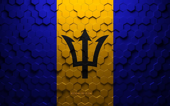 Flag of Barbados, honeycomb art, Barbados hexagons flag, Barbados, 3d hexagons art, Barbados flag