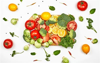 healthy food, vegetables, cabbage, tomatoes, lemons, diet concepts, different vegetables on white background