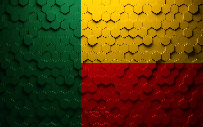 Flag of Benin, honeycomb art, Benin hexagons flag, Benin, 3d hexagons art, Benin flag