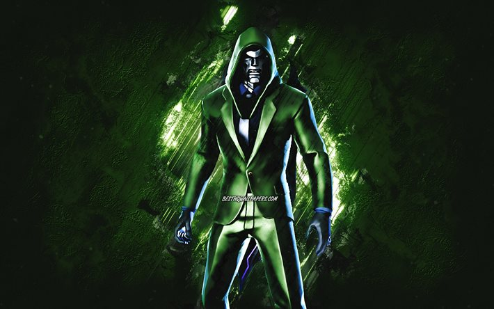 Fortnite Doombot Agent Skin, Fortnite, main characters, green stone background, Doombot Agent, Fortnite skins, Doombot Agent Skin, Doombot Agent Fortnite, Fortnite characters
