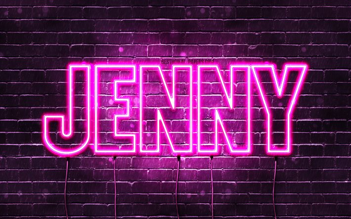 Jenny, 4k, wallpapers with names, female names, Jenny name, purple neon lights, Happy Birthday Jenny, popular norwegian female names, picture with Jenny name