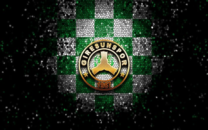 Giresunspor FC, glitter logo, 1 Lig, green white checkered background, soccer, turkish football club, Giresunspor logo, mosaic art, TFF First League, football, Giresunspor