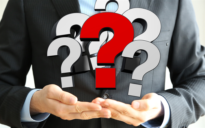 Download Wallpapers 4k Businessman With Question Marks