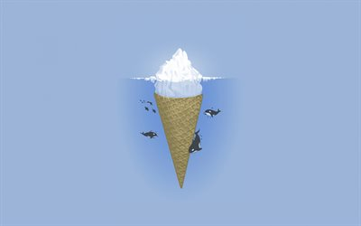 creative iceberg, ice cream, tip of the iceberg concepts, killer whales, blue background