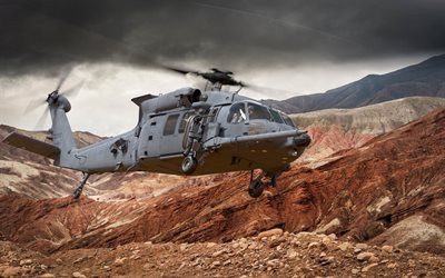 Sikorsky HH-60 Pave Hawk, HH-60W, Combat Rescue Helicopter, CRH, military helicopter, US Air Force, rocks, Nevada, USA