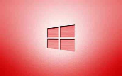 4k, Windows 10 red logo, creative, red backgrounds, minimalism, operating systems, Windows 10 logo, artwork, Windows 10