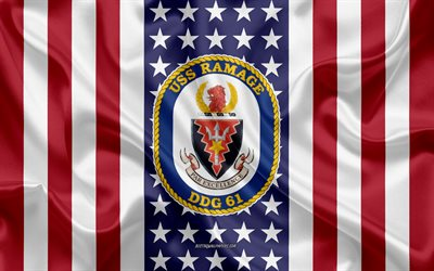 USS Ramage Emblem, DDG-61, American Flag, US Navy, USA, USS Ramage Badge, US warship, Emblem of the USS Ramage