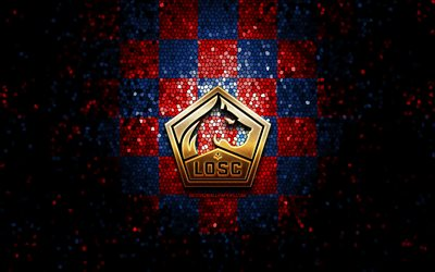 Lille FC, glitter logo, Ligue 1, red blue checkered background, soccer, LOSC Lille, french football club, LOSC Lille logo, mosaic art, football, France