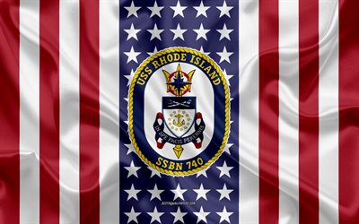 USS Rhode Island Emblem, SSBN-740, American Flag, US Navy, USA, USS Rhode Island Badge, US warship, Emblem of the USS Rhode Island