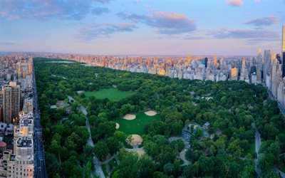 Central Park, Manhattan, New York City, Upper West Side, Upper East Side, evening, sunset, New York cityscape, skyline, New York, USA