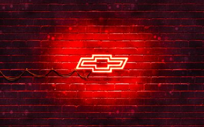 Chevrolet red logo, 4k, red brickwall, Chevrolet logo, cars brands, Chevrolet neon logo, Chevrolet