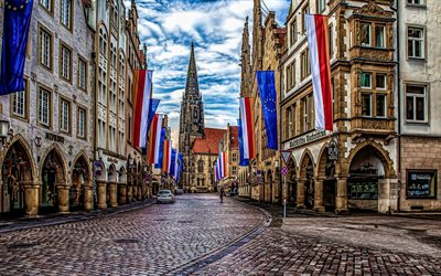 Munster, 4k, old streets, cityscapes, summer, german cities, Europe, Germany, Cities of Germany, Munster Germany