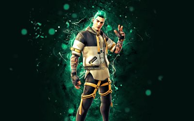 No Glow Flare, 4k, turquoise neon lights, Fortnite Battle Royale, Fortnite characters, No Glow Flare Skin, Fortnite, No Glow Flare Fortnite