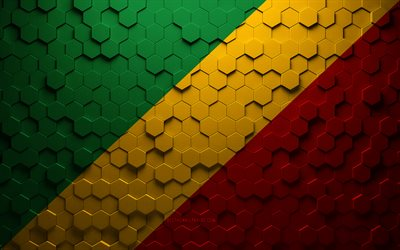 Flag of Republic of the Congo, honeycomb art, Republic of the Congo hexagons flag, Republic of the Congo, 3d hexagons art, Republic of the Congo flag