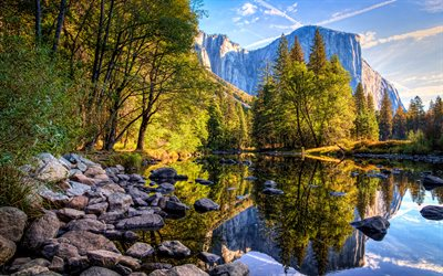 Yosemite National Park, 4k, mountains, river, autumn, California, America, USA, beautiful nature