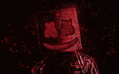 Marshmello, red glitter art, black background, American DJ, Marshmello art, Christopher Comstock, DJ Marshmello
