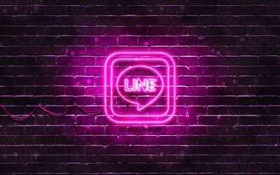 LINE purple logo, 4k, purple brickwall, LINE logo, messengers, LINE neon logo, LINE