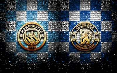 Manchester City FC vs Chelsea FC, Final, Champions League 2021, football match, gold logos, Champions League, football, Manchester City FC, Chelsea FC, Man City vs Chelsea FC