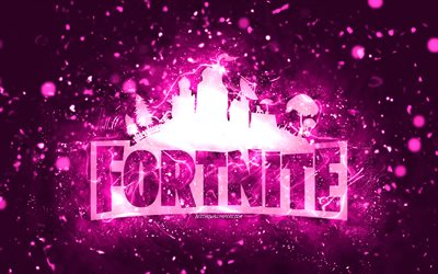 Fortnite purple logo, 4k, purple neon lights, creative, purple abstract background, Fortnite logo, online games, Fortnite