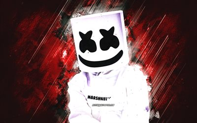 Marshmello, American DJ, Christopher Comstock, grunge art, Marshmello DJ, red stone background, Marshmello art