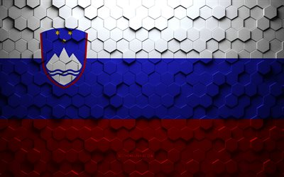 Flag of Slovenia, honeycomb art, Slovenia hexagons flag, Slovenia, 3d hexagons art, Slovenia flag