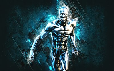 Fortnite Silver Surfer Skin, Fortnite, main characters, blue stone background, Silver Surfer, Fortnite skins, Silver Surfer Skin, Silver Surfer Fortnite, Fortnite characters