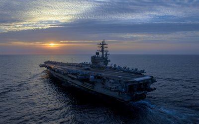 USS Ronald Reagan, CVN-76, American aircraft carrier, US Navy, Nimitz, Sunset, ocean