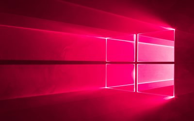 Windows 10, rose fluo logo, système d'exploitation, Windows