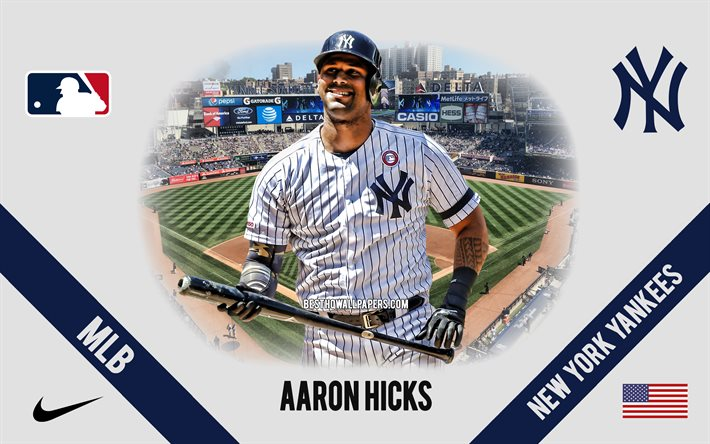 Download Wallpapers Aaron Hicks New York Yankees American Baseball Player Mlb Portrait Usa Baseball Yankee Stadium New York Yankees Logo Major League Baseball For Desktop Free Pictures For Desktop Free