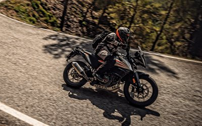 2020, KTM 390 Adventure, side view, exterior, new gray 390 Adventure, motorcycle on the road, motorcycle riding concepts, KTM