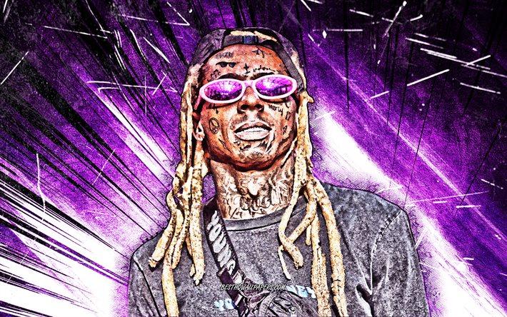 Download Wallpapers Lil Wayne 2020 4k Music Stars Violet Abstract Rays American Singer American Celebrity Superstars Dwayne Michael Carter Grunge Art Creative Lil Wayne 4k For Desktop Free Pictures For Desktop Free