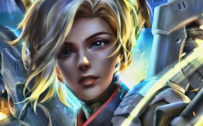Mercy, 4k, Overwatch characters, 2020 games, cyber warriors, shooter, Overwatch, Mercy Overwatch