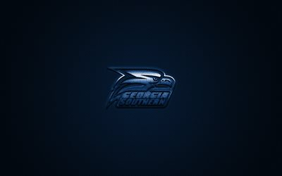 Georgia Southern Eagles logo, American football club, NCAA, blue logo, blue carbon fiber background, American football, Statesboro, Georgia, USA, Georgia Southern Eagles